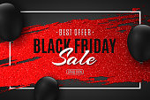 Abstract web banner for Black Friday sale. Red grunge brush with glitters and black balloons. Design for your business. Vector illustration