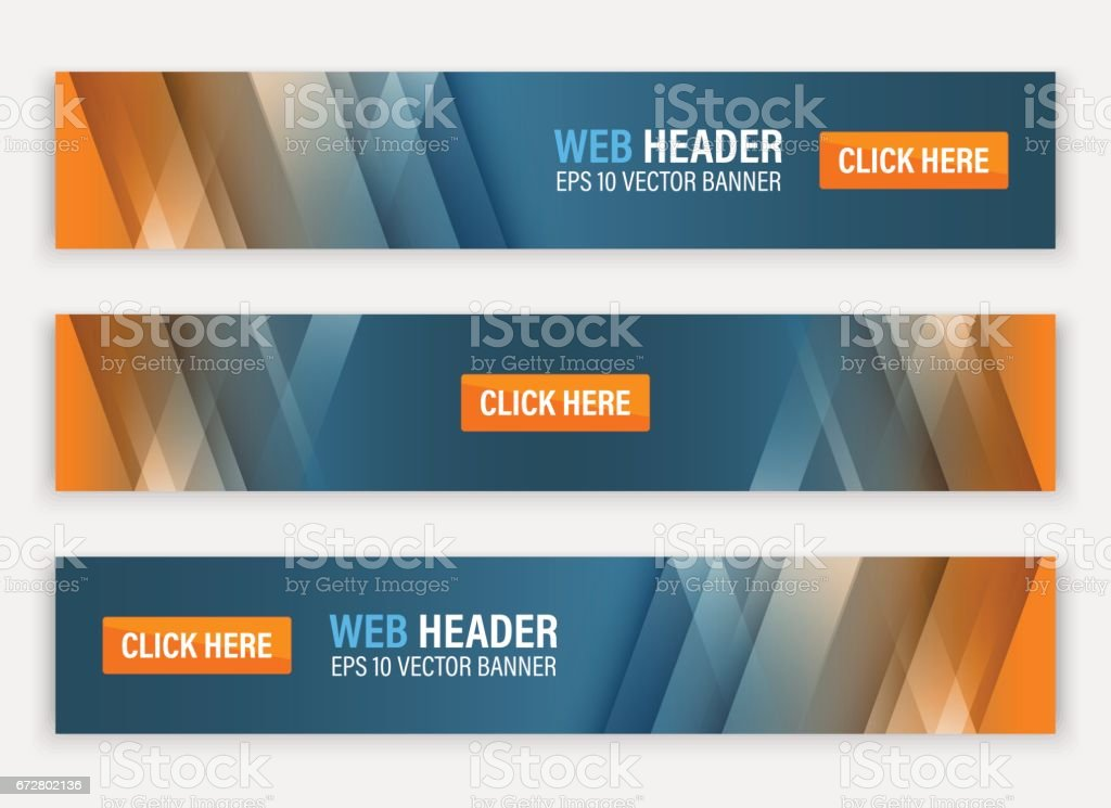Abstract website header. Horizontal vector banners.