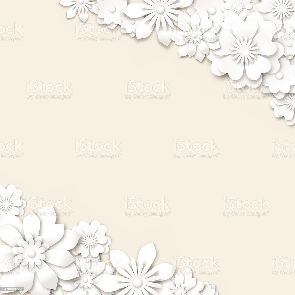 abstract wedding background with white 3d flowers stock vector art