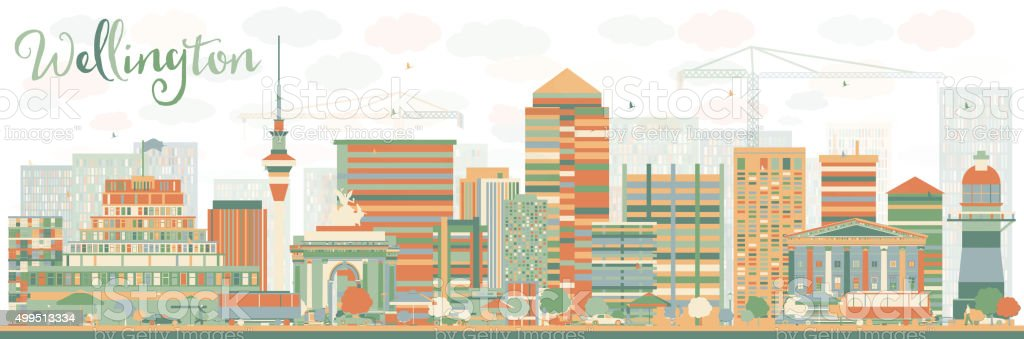 Abstract Wellington skyline with color buildings. vector art illustration