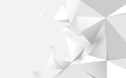 Abstract white 3d low polygonal background. Vector illustration