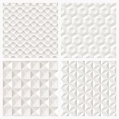A collection of modern abstract white 3d paper geometric pattern. All design are seamless