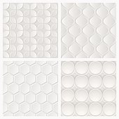 A collection of abstract white 3d tile geometric pattern. All design are seamless.