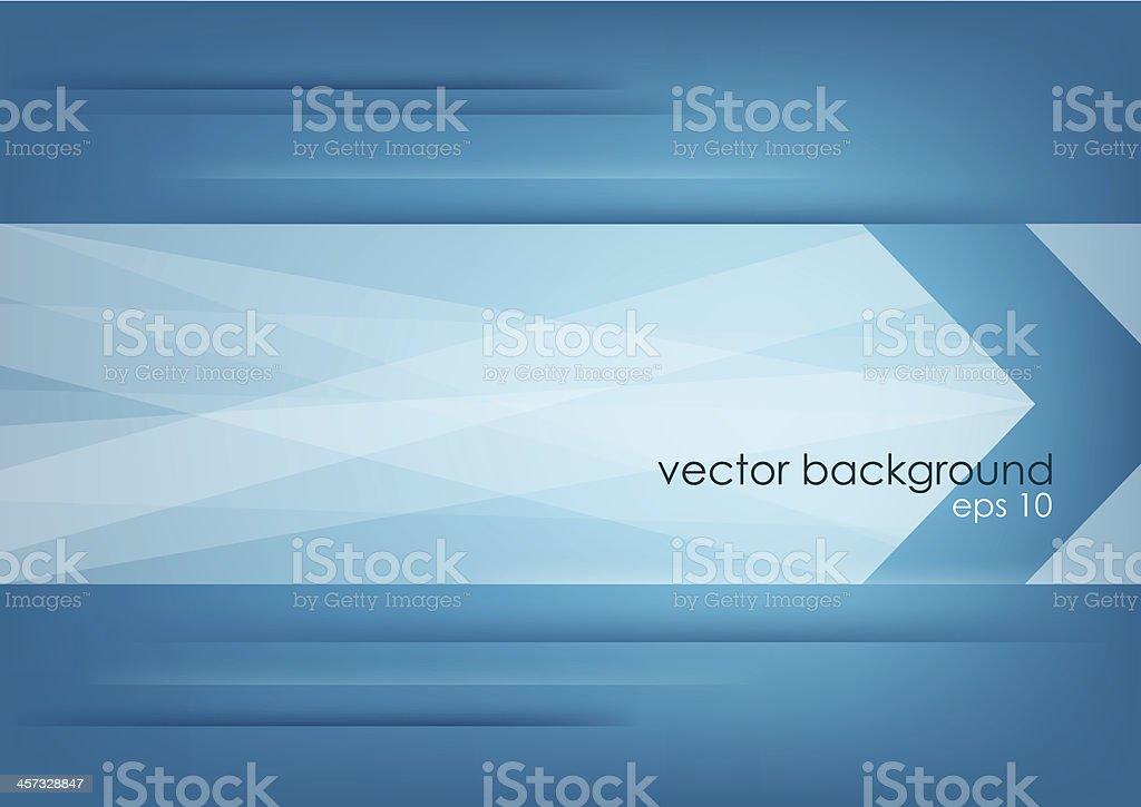 Abstract white arrow on blue horizontal background. vector art illustration