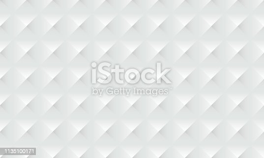 927104724 istock photo Abstract white background geometric 3d texture with seamless diamond square pattern 1135100171