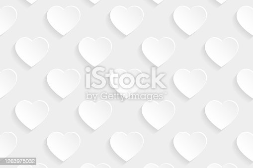 istock Abstract white background - Heart pattern 1263975032