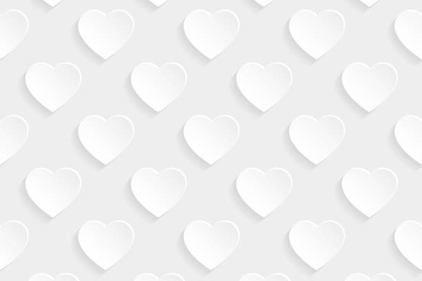 Abstract white background - Heart pattern vector art illustration