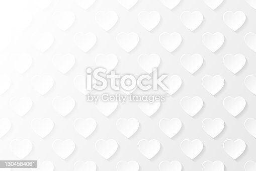 istock Abstract white background - Heart pattern 1304584061
