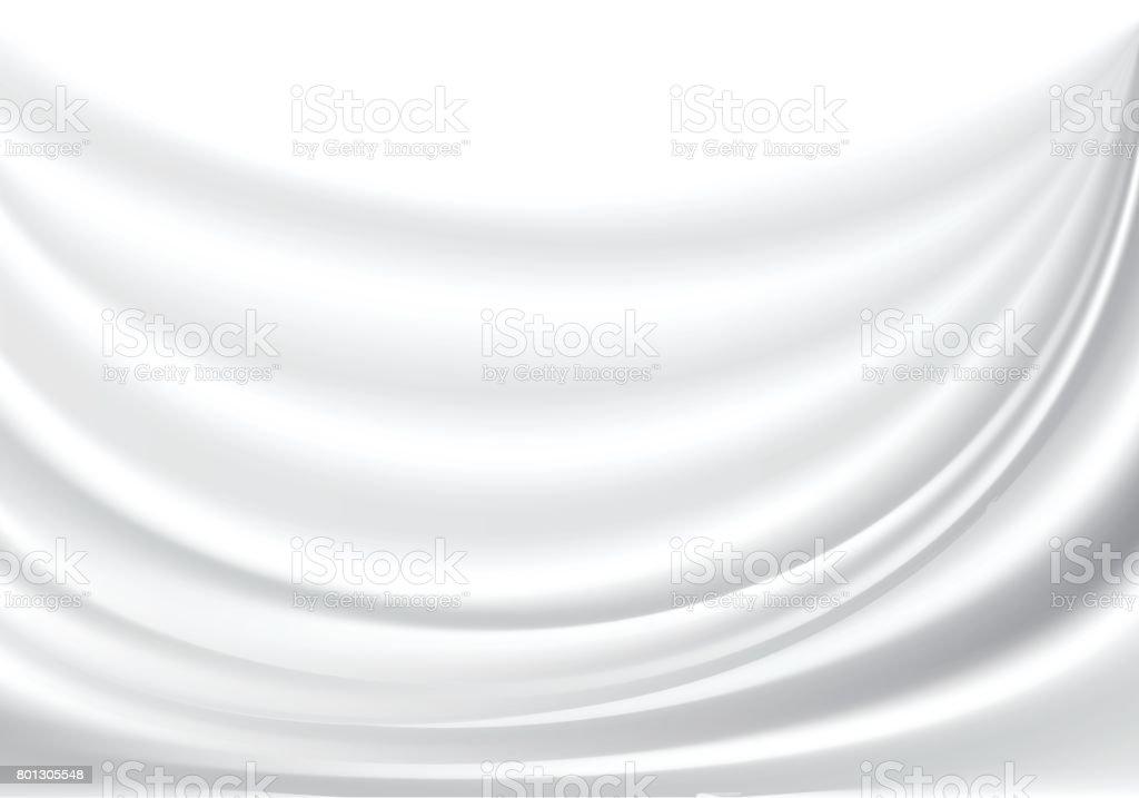 白い布サテン波背景テクスチャ ベクトル図を抽象化します。 ベクターアートイラスト