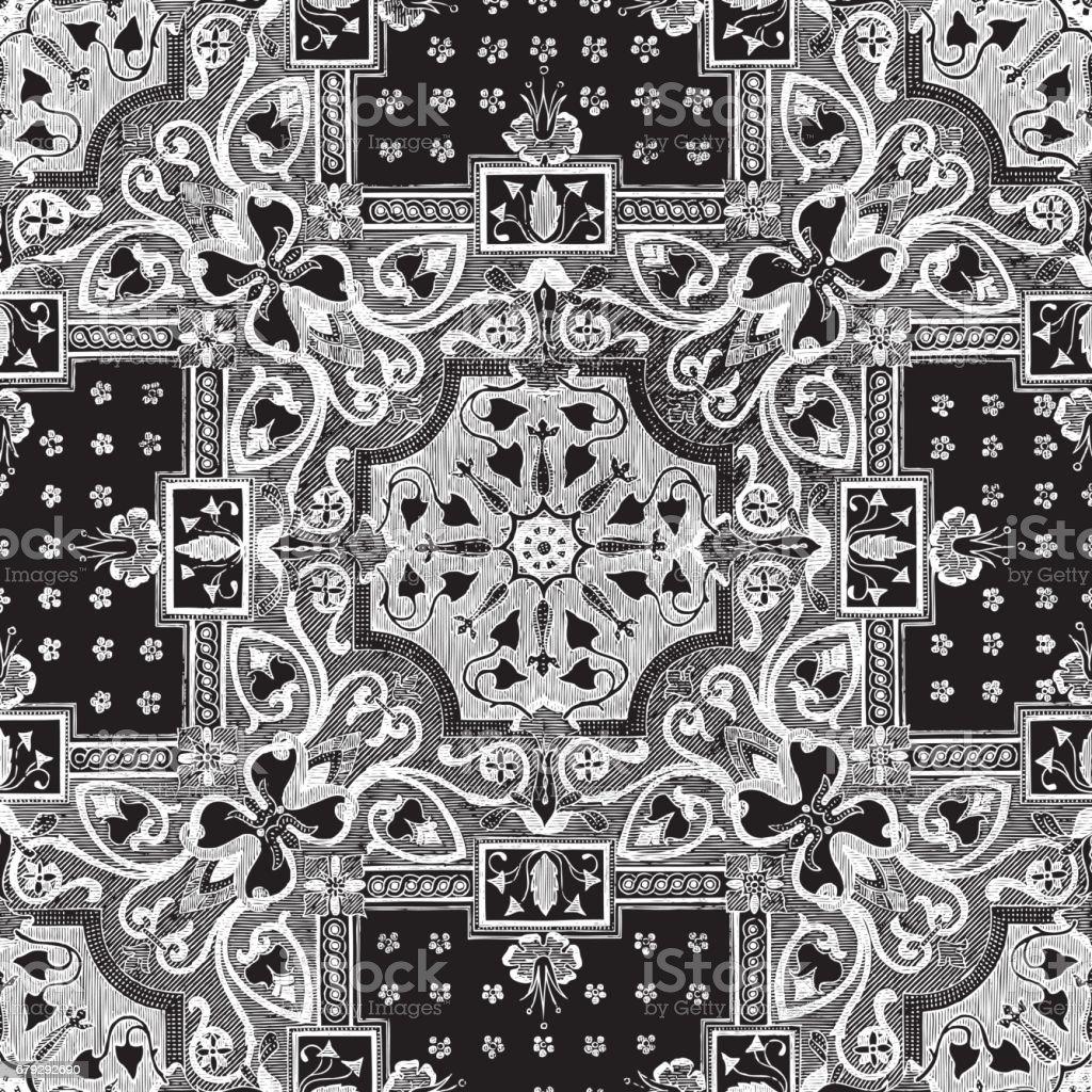 Weisse Blumen Mosaik Fliesen Vintage Ornament Auf Schwarzem Zuruck Zu