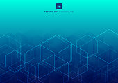 Abstract white glow hexagons overlapping pattern on blue background technology concept. Vector illustration