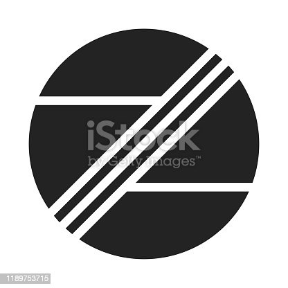 istock Abstract white horizontal and diagonal lines in a black circle. Minimal style logo design. 1189753715
