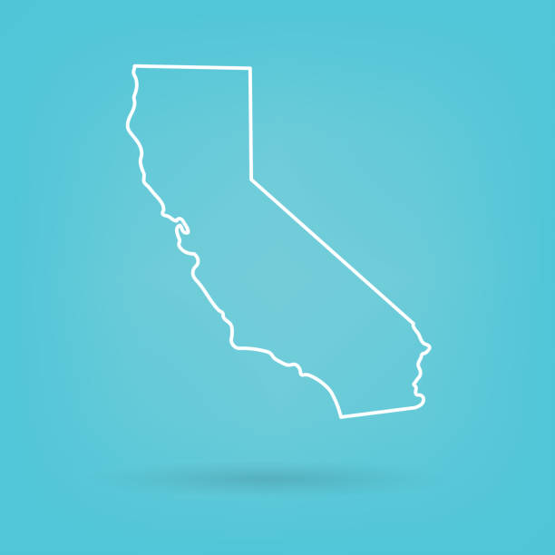 abstract white map of California abstract white map of California- vector illustration california map stock illustrations