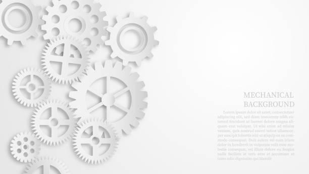 ilustrações, clipart, desenhos animados e ícones de conceito mecânico branco abstrato do fundo da engrenagem. papel de corte de estilo. - engrenagem