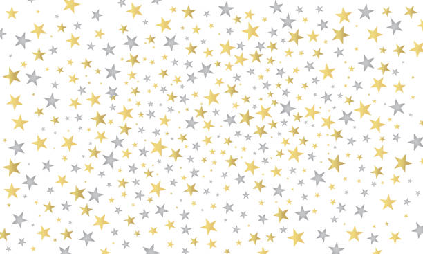 Abstract white modern nice pattern with gold and silver stars vector art illustration