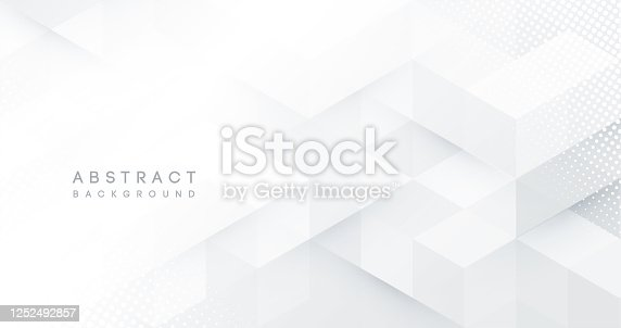 istock Abstract white monochrome vector background, for design brochure, website, flyer. Geometric white wallpaper for certificate, presentation, landing page 1252492857