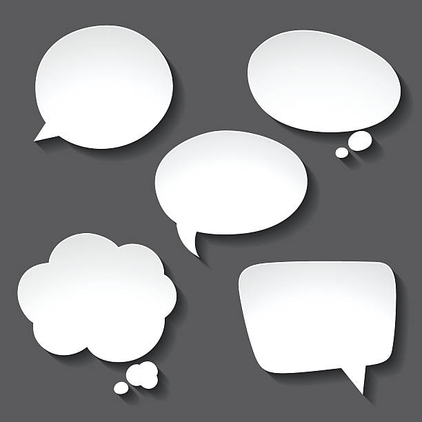 Abstract white paper speech bubbles on gray background Abstract white paper speech bubbles on gray background. hot air balloon stock illustrations