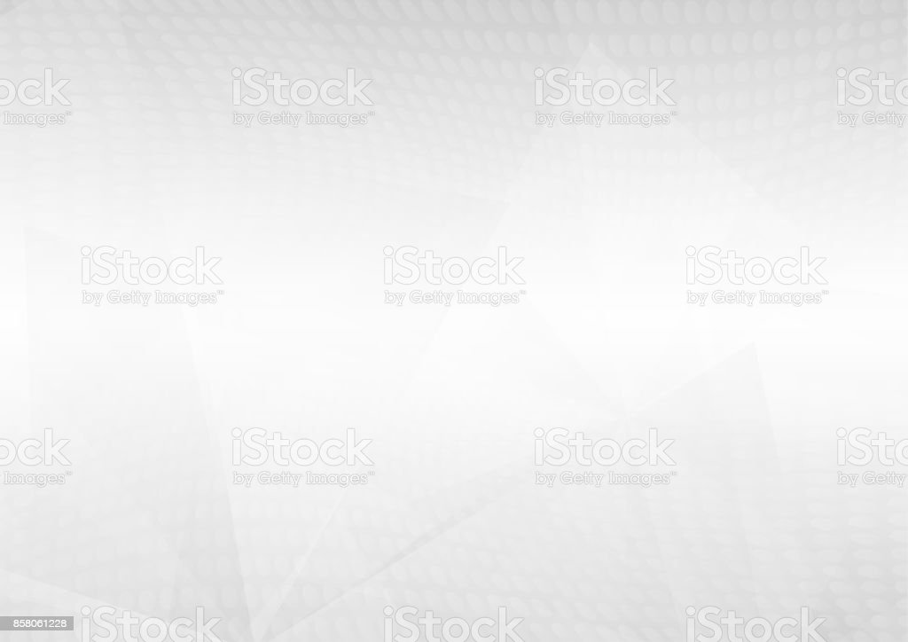 Abstract white perspective geometric shapes overlap on gray gradient background with soft light and halftone dots. Vector illustration vector art illustration