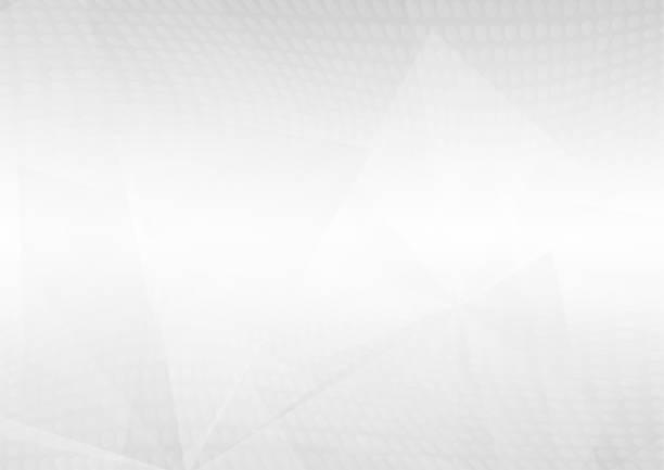 illustrazioni stock, clip art, cartoni animati e icone di tendenza di abstract white perspective geometric shapes overlap on gray gradient background with soft light and halftone dots. vector illustration - beige