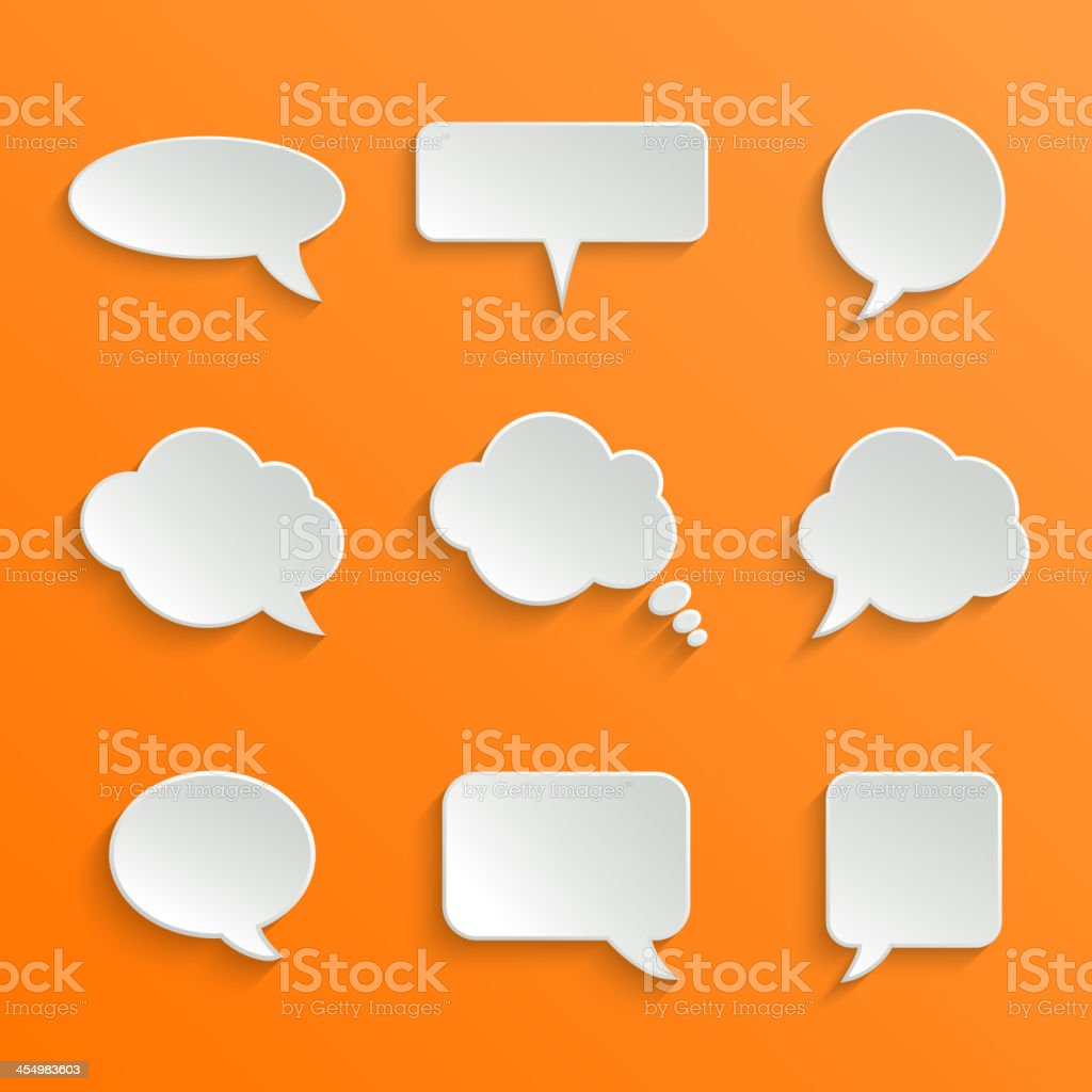 Abstract White Speech Bubbles Set royalty-free stock vector art