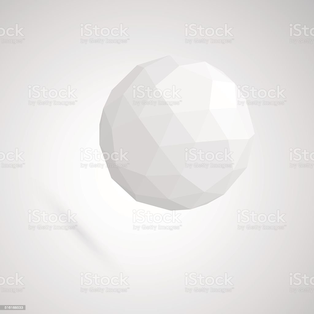 Abstract white sphere made of geometric shapes vector art illustration