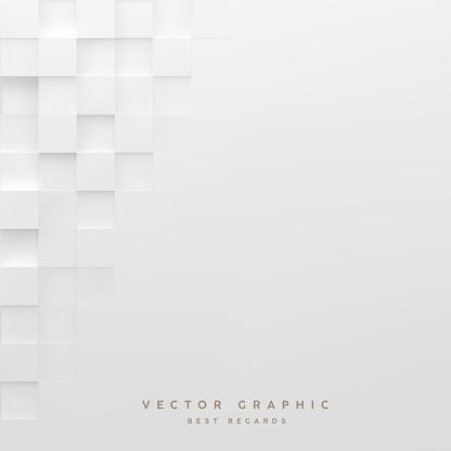 Abstract white square background. Geometric minimalistic cover design. Vector graphic.