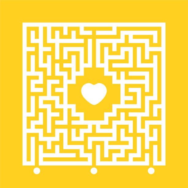 추상 흰색 사각형 미로입니다. 마음에 맞는 길을 찾으십시오. 미로 수수께끼. 사랑 검색 개념. 색상 배경에서 격리된 플랫 벡터 그림입니다. - 미로찾기 stock illustrations