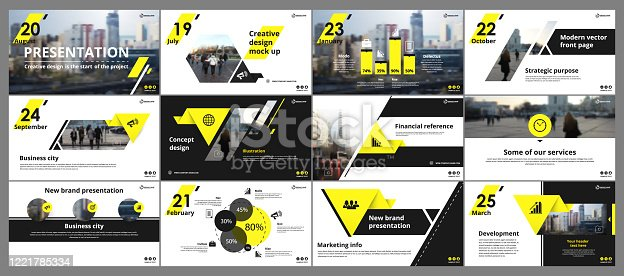 istock Abstract white, yellow presentation slides. Modern brochure cover design. Fancy info banner frame. Creative infographic elements set. Urban city font. Vector title sheet model. Ad flyer style template 1221785334