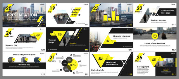 Abstract white, yellow presentation slides. Modern brochure cover design. Fancy info banner frame. Creative infographic elements set. Urban city font. Vector title sheet model. Ad flyer style template Abstract white, yellow presentation slides. Modern brochure cover design. Fancy info banner frame. Creative infographic elements set. Urban city font. Vector title sheet model. Ad flyer style template website templates stock illustrations