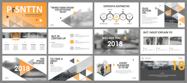 abstract white, yellow presentation slides. modern brochure cover design. fancy info banner frame. creative infographic element set. urban city font. vector title sheet model. ad flyer style template - website templates stock illustrations