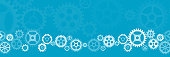 Abstract wide gears background. Mechanism with integrated gears for business presentations or information banner. Hi-tech digital technology and engineering.