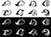 Collection of calligraphic style animals, traced from my sketch, with high resolution jpg.