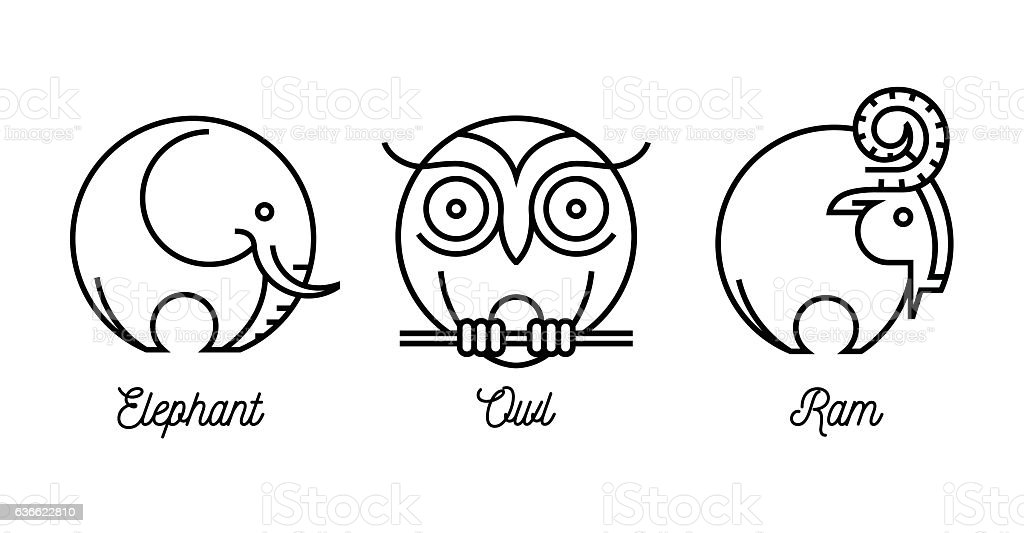 Abstract wild animal icons set with elephant, ram and owl vector art illustration