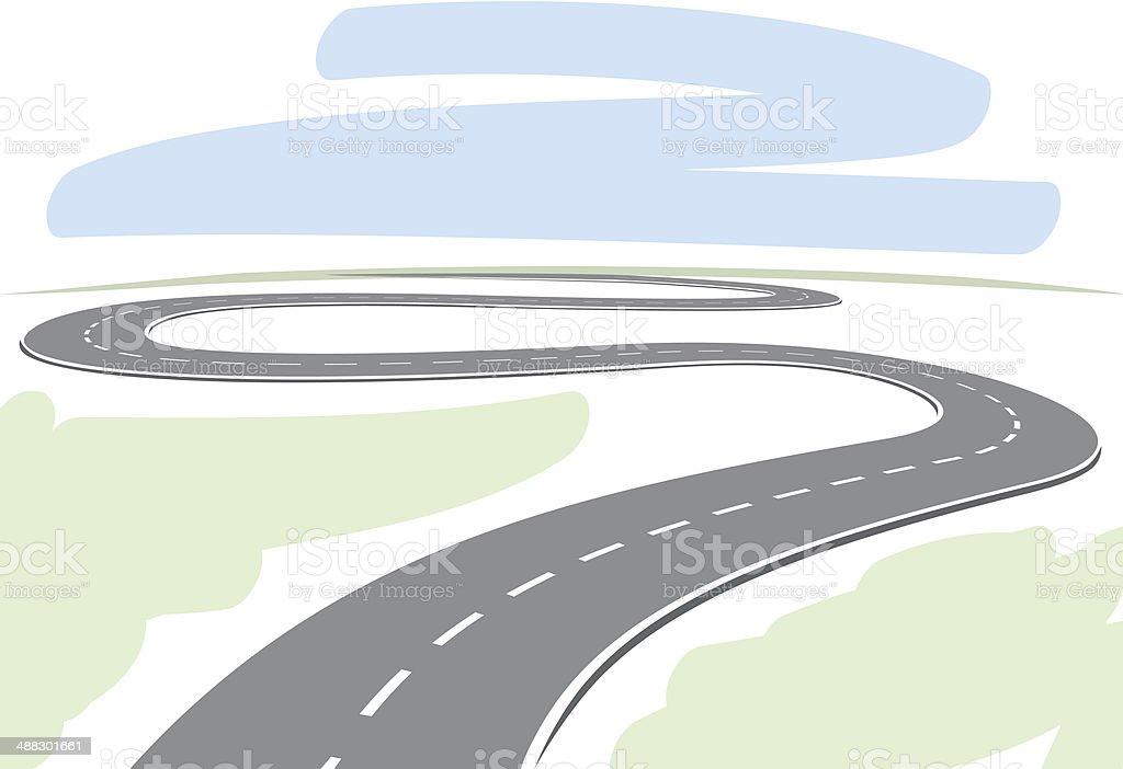 Abstract winding highway vector art illustration