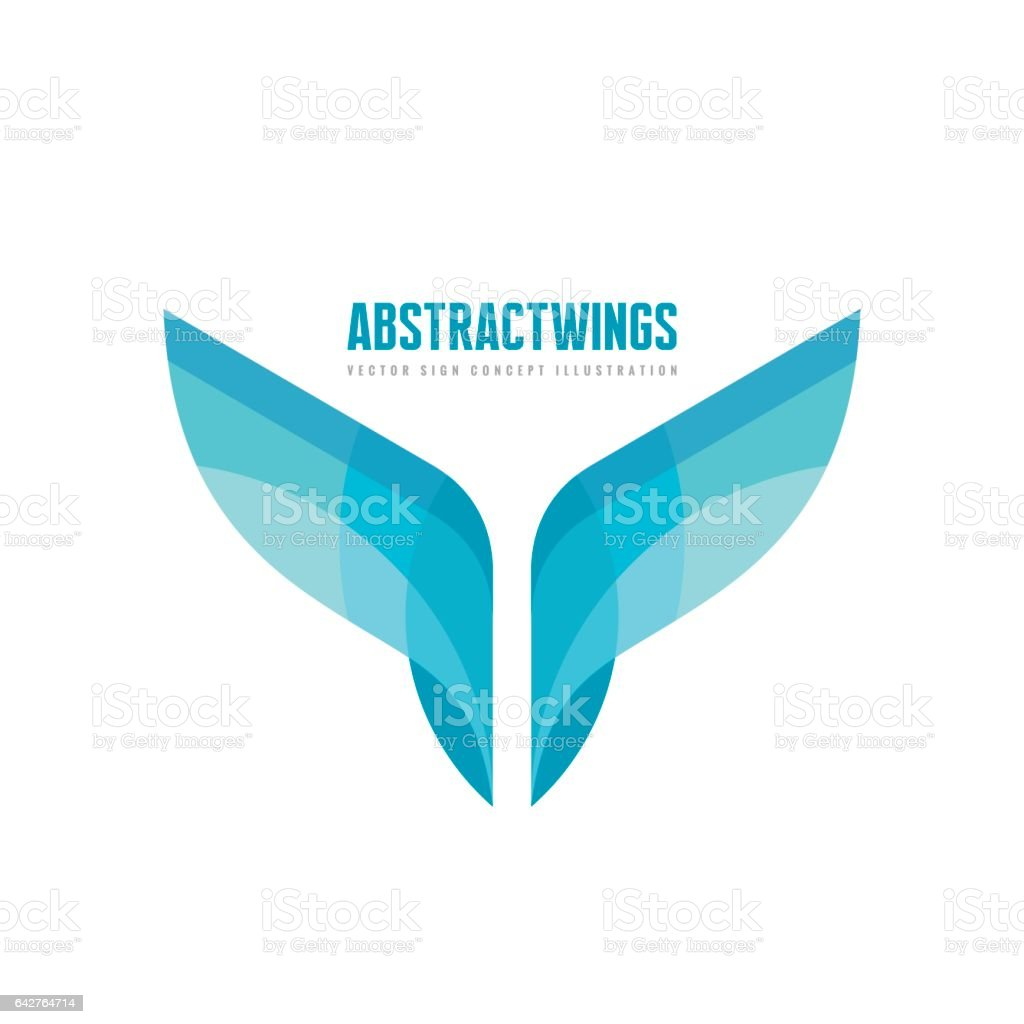 Abstract wings - vector business logo template concept illustration in flat style. Colored design element. royalty-free abstract wings vector business logo template concept illustration in flat style colored design element stock illustration - download image now