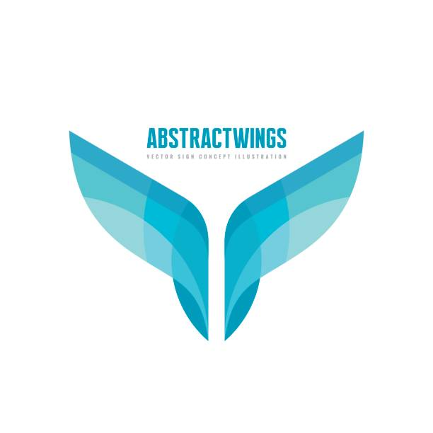 Abstract wings - vector business logo template concept illustration in flat style. Colored design element. Abstract wings - vector business logo template concept illustration in flat style. Colored design element. aircraft wing stock illustrations