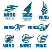 Abstract wings vector logo set for delivery, cargo, business companies. Badge company wing logo, business wing logo, icon wing fast illustration