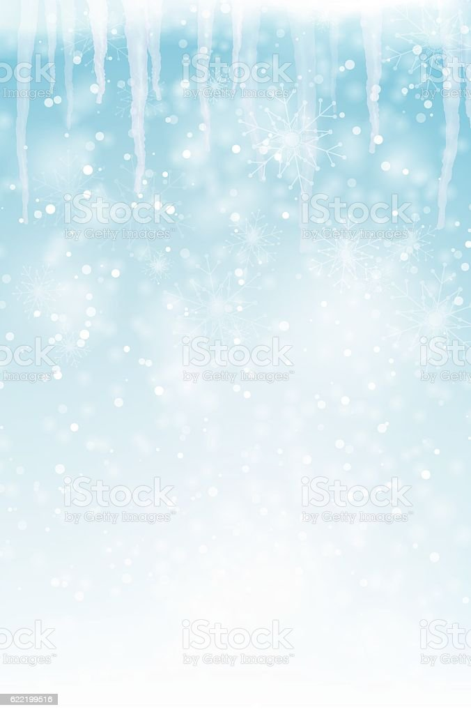 Abstract winter background with snowflakes and icicles vector art illustration