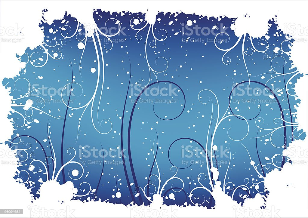 Abstract winter grunge background with flakes and scrolls royalty-free abstract winter grunge background with flakes and scrolls stock vector art & more images of abstract