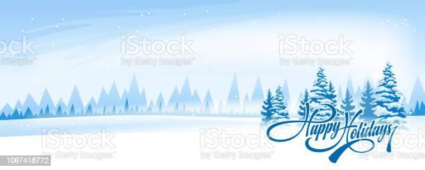 Абстрактный Зимний Пейзаж — стоковая векторная графика и другие изображения на тему Без людей