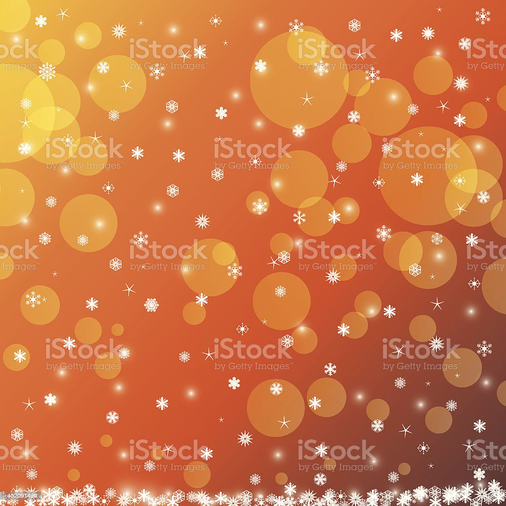 Abstract winter orange snowflakes background royalty-free stock vector art