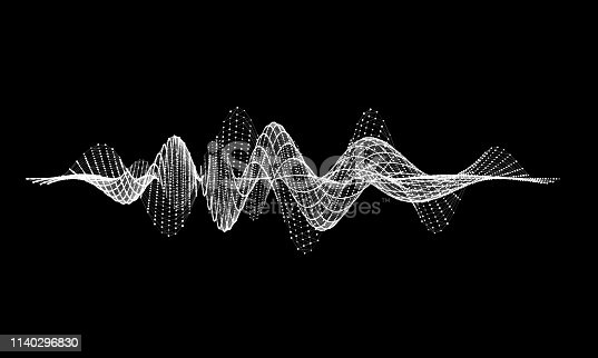 Abstract wire background  communication. Scientific futuristic vector illustration.Equalizer audio wave with triangular.