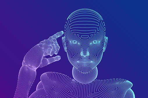Abstract wireframe female cyborg or robot holds a finger near the head and thinks or computes using her artificial intelligence. AI and Machine learning technology concept. Vector illustration.