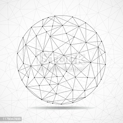 istock Abstract wireframe globe sphere, network connections with dots and lines 1179342935