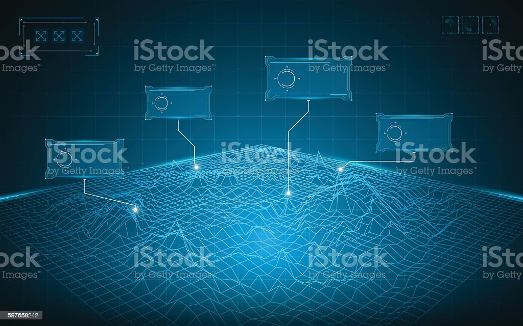 abstract wireframe grid landscape digital technology concept background vector art illustration