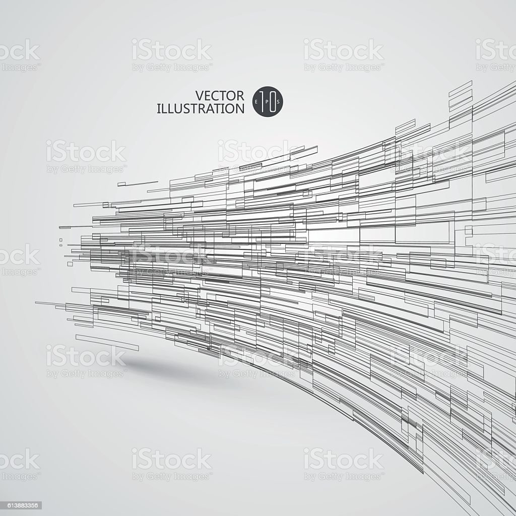 Abstract wireframe, science and technology illustration. vector art illustration