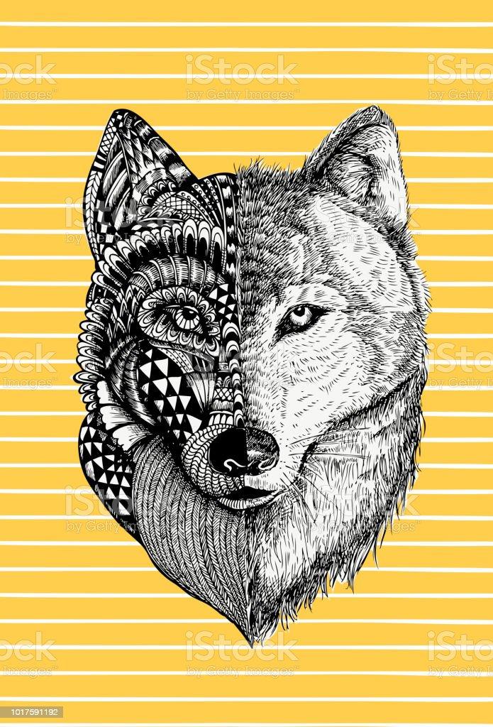 Abstract Wolf Illustration Vector Stock Illustration