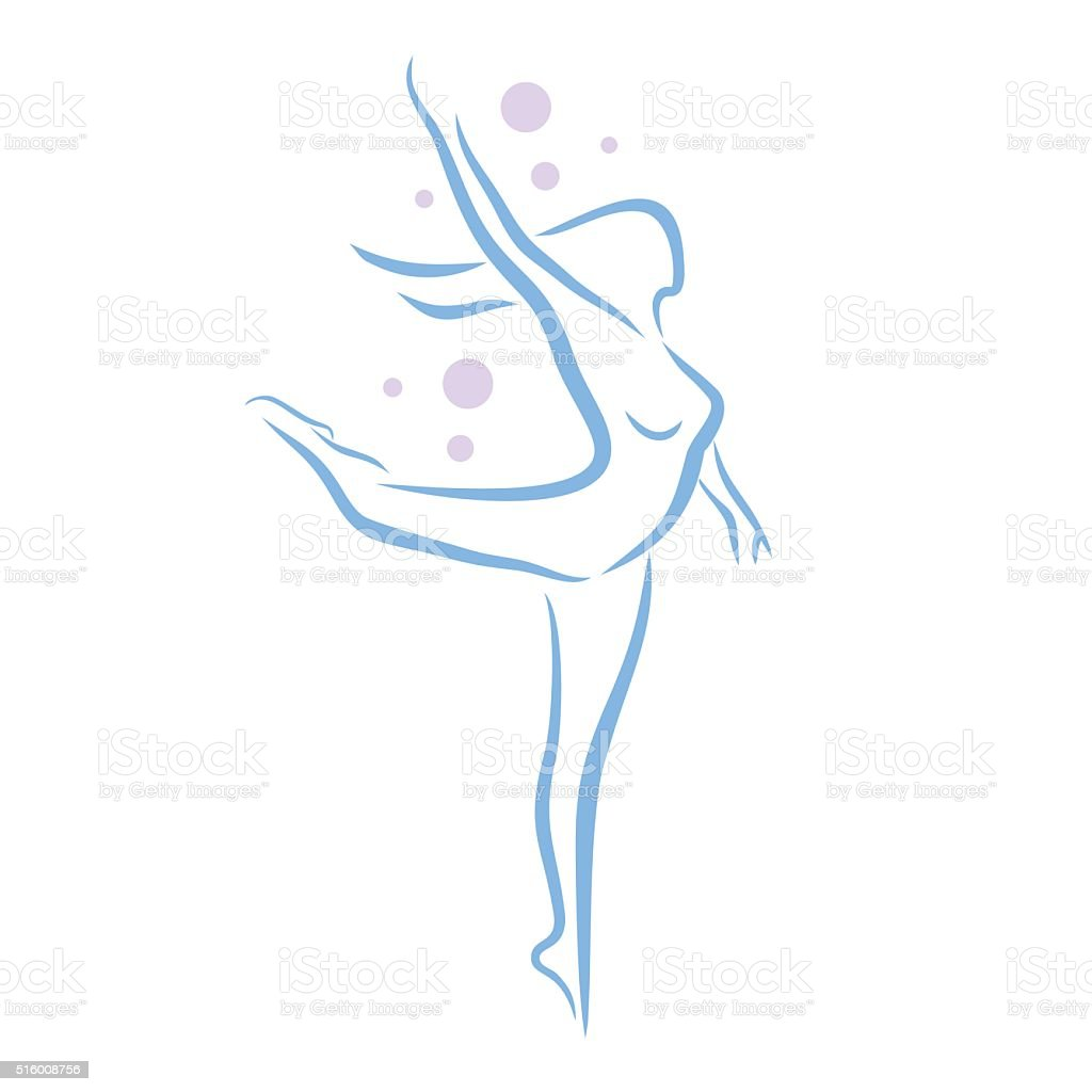 Abstract woman dancing vector art illustration