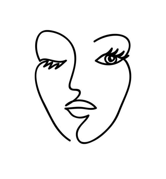 Abstrakte Frau Gesicht. Schwarz und weiß handgezeichnete Linie Kunst. Gliederungsvektor-Illustration. – Vektorgrafik