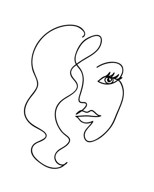 Abstrakte Frau Gesicht mit welligen Haaren. Schwarz und weiß handgezeichnete Linie Kunst. Gliederungsvektor-Illustration – Vektorgrafik